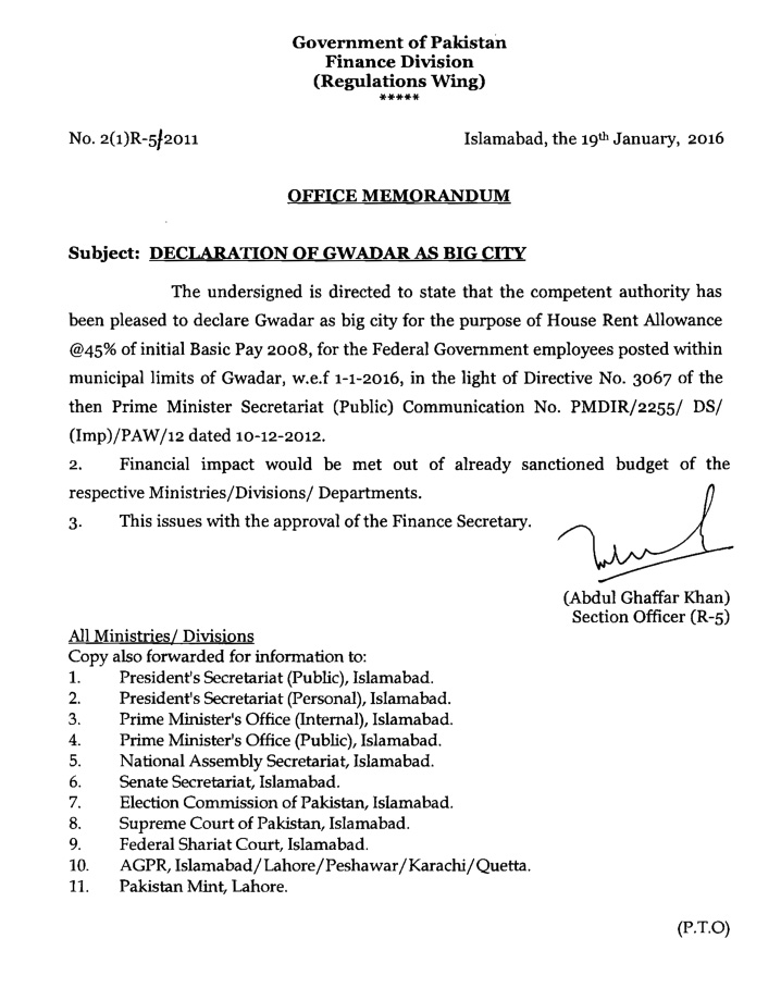 Declaration of Gwadar as Big City for the purpose of House Rent Allowance @45% of initial Basic Pay 2008_001
