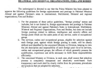 POLICY GUIDELINES FOR FOREIGN APPOINTMENT AND POSTING IN PAKISTAN MISSION ABROAD AND AGAINST PAKISTAN'S SEATS IN INTERNATIONAL, MULTILATERAL, BILATERAL AND REGIONAL ORGANIZATION, FORA AND BODIES