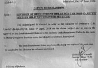 Revision of Recruitment Rules for the Non-Gazetted Posts in Military Engineer Service (MES)