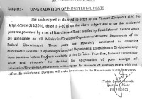 Up-gradation of Ministerial posts :: Establishment Division submitted O.M. to Finance Division