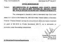 Pre-mature increment on grant of BS-18/19 to Private Secretaries (BS-17), Finance Division issued O.M